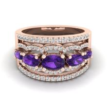 Certified 2.25 ctw Amethyst & Micro Pave Diamond Designer Ring 10K Rose Gold - 20791-#59F5R