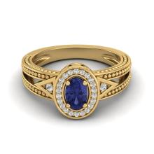 Certified 0.58 ctw Tanzanite & Diamond Ring 10K Yellow Gold - 20845-#21F8R