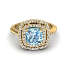 Certified 2.50 ctw Sky Blue Topaz & Micro Diamond Pave Halo Ring 18K Yellow Gold - 20755-#55F8R
