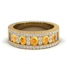 Certified 2.0 ctw Citrine & Micro Diamond Designer Inspired Band Ring 10K Yellow Gold - 20823-#48M5H