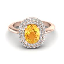 Certified 2.50 ctw Citrine & Micro Pave Diamond Ring Double Halo 14K Rose Gold - 20739-#56K7P