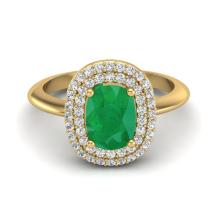 Certified 2.50 ctw Emerald & Micro Pave Diamond Ring Double Halo Bridal Solitaire 14K Yellow Gold - 20743-#56W7K