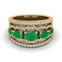 Certified 2.25 ctw Emerald & Micro Pave Diamond Designer Ring 10K Yellow Gold - 20801-#59V5F