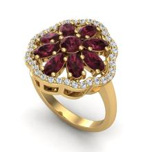 Certified 3.0 ctw Garnet & Diamond Cluster Designer Halo Ring 10K Yellow Gold - 20783-#44M2H