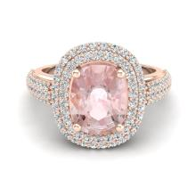 Certified 2.75 ctw Morganite & Micro Pave Diamond Halo Ring 10K Rose Gold - 20719-#87K7P