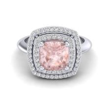 Certified 2.50 ctw Morganite & Micro Diamond Pave Halo Ring 18K White Gold - 20765-#74W2K