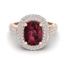 Certified 2.60 ctw Garnet & Micro Pave Diamond Halo Ring 10K Rose Gold - 20711-#44A2M