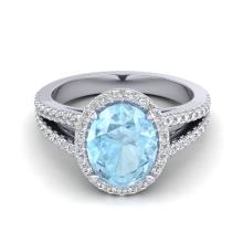 Certified 3.0 ctw Aquamarine & Micro Diamond Halo Solitaire Bridal Ring 18K White Gold - 20930-#66A3M