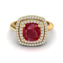 Certified 2.50 ctw Ruby & Micro Diamond Pave Halo Ring 18K Yellow Gold - 20767-#55T8X