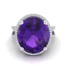 Certified 10.00 ctw Amethyst & Micro Pave Diamond Halo Ring 18K White Gold - 20952-#78M2H