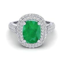 Certified 3.0 ctw Emerald & Micro Pave Diamond Halo Ring 18K White Gold - 20717-#59Z8A