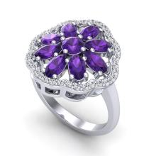 Certified 3.0 ctw Amethyst & Diamond Cluster Designer Halo Ring 10K White Gold - 20771-#44F2R