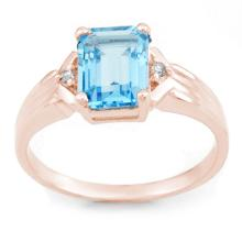 Natural 2.03 ctw Blue Topaz & Diamond Ring 18K Rose Gold - 11068-#27A7N