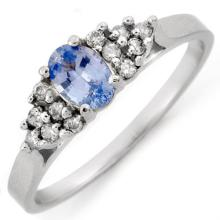 Natural 0.50 ctw Blue Sapphire & Diamond Ring 18K White Gold - 10582-#28R7H