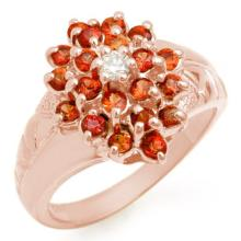 Genuine 1.39 ctw Red Sapphire & Diamond Ring 10K Rose Gold - 10641-#31G7R