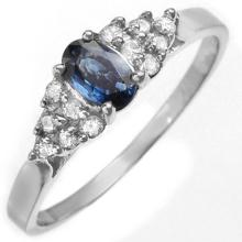 Natural 0.50 ctw Blue Sapphire & Diamond Ring 18K White Gold - 10012-#27F8M