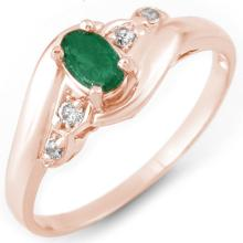 Natural 0.42 ctw Emerald & Diamond Ring 14K Rose Gold - 10982-#20F7M