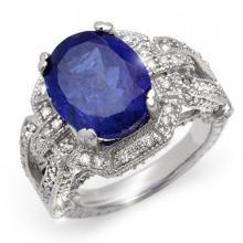 Genuine 8.50 ctw Tanzanite & Diamond Ring 18K White Gold - 10997-#335A8N