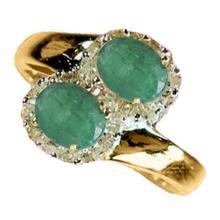Genuine 1.35 ctw Emerald & Diamond Ring 10K Yellow Gold - 13015-#30K8T
