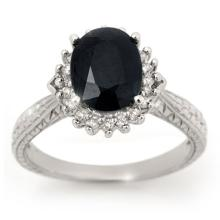 Genuine 3.15 ctw Blue Sapphire & Diamond Ring 18K White Gold - 12755-#50Z5P