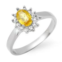 Natural 0.83 ctw Yellow Sapphire & Diamond Ring 14K White Gold - 14384-#29Y8V