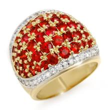 Genuine 5.75 ctw Red Sapphire & Diamond Ring 14K Yellow Gold - 10633-#130K3T
