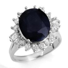 Natural 8.99 ctw Blue Sapphire & Diamond Ring 18K White Gold - 12918-#108X5Y