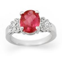 Natural 3.85 ctw Rubellite & Diamond Ring 14K White Gold - 14096-#72F2M