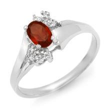 Natural 0.52 ctw Garnet & Diamond Ring 18K White Gold - 12370-#24A8N