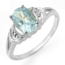 Genuine 1.06 ctw Blue Topaz & Diamond Ring 18K White Gold - 12547-#21R2H