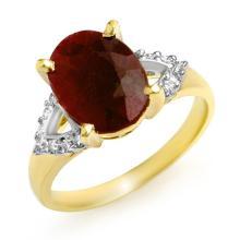 Genuine 5.55 ctw Ruby & Diamond Ring 10K Yellow Gold - 12981-#36R7H