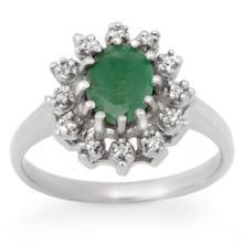 Natural 1.46 ctw Emerald & Diamond Ring 18K White Gold - 12440-#38Y2V