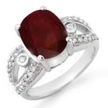 Genuine 4.0 ctw Ruby & Diamond Ring 10K White Gold - 14453-#54P3X