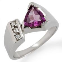 Genuine 1.0 ctw Amethyst & Diamond Ring 10K White Gold - 10691-#29G5R