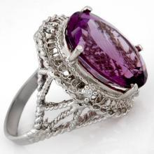Genuine 13.03 ctw Amethyst & Diamond Ring 10K White Gold - 10365-#41W7K