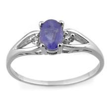 Genuine 0.77 ctw Tanzanite & Diamond Ring 18K White Gold - 11413-#19Y2V