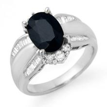 Natural 3.42 ctw Blue Sapphire & Diamond Ring 18K White Gold - 12912-#99V8A