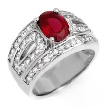 Natural 2.54 ctw Rubellite & Diamond Ring 18K White Gold - 10622-#128X7Y