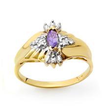 Genuine 0.22 ctw Tanzanite & Diamond Ring 10K Yellow Gold - 12407-#14M7G