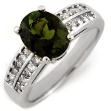 Genuine 3.0 ctw Green Tourmaline & Diamond Ring 14K White Gold - 11559-#73A2N