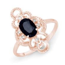 Natural 1.10 ctw Blue Sapphire & Diamond Ring 10K Rose Gold - 12286-#16P5X