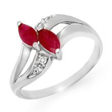 Genuine 0.62 ctw Ruby & Diamond Ring 10K White Gold - 12739-#15Z5P