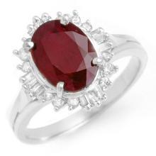 Genuine 2.55 ctw Ruby & Diamond Ring 18K White Gold - 13121-#45H3W