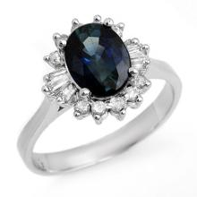 Genuine 2.29 ctw Blue Sapphire & Diamond Ring 14K White Gold - 13237-#44N5F