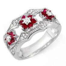 Genuine 0.85 ctw Ruby & Diamond Ring 14K White Gold - 11617-#59X8Y