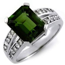 Genuine 4.47 ctw Green Tourmaline & Diamond Ring 10K White Gold - 11279-#81M5G