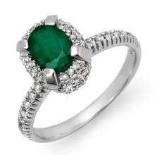 Genuine 1.90 ctw Emerald & Diamond Ring 14K White Gold - 14387-#57V3A