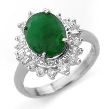 Genuine 4.85 ctw Emerald & Diamond Ring 18K White Gold - 13175-#79M8G