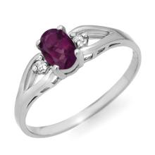 Genuine 0.53 ctw Amethyst & Diamond Ring 10K White Gold - 12403-#9Z2P