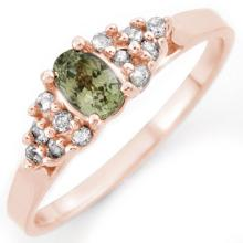 Natural 0.50 ctw Green Sapphire & Diamond Ring 14K Rose Gold - 10392-#20Z7P